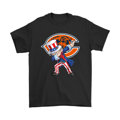 NFL - Chicago Bears Uncle Sam Dabbing Independence Day NFL Football Shirts-T-shirt-Gildan Mens T-Shirt-Black-S-PopsSpot