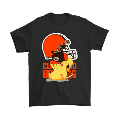 NFL – Cleveland Browns American Football Pikachu Shirts-T-shirt-Gildan Mens T-Shirt-Black-S-Itees Global