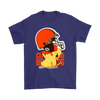 NFL – Cleveland Browns American Football Pikachu Shirts-T-shirt-Gildan Mens T-Shirt-Purple-S-Itees Global