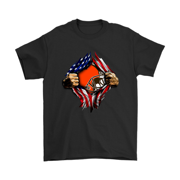 NFL - Cleveland Browns Independence Day Football Shirts-T-shirt-Gildan Mens T-Shirt-Black-S-Itees Global