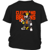 NFL - Cleveland Browns Mickey Mouse Is Wearing A Peace Necklace Disney NFL Football Shirt-T-shirt-District Youth Shirt-Black-XS-PopsSpot