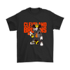 NFL - Cleveland Browns Mickey Mouse Is Wearing A Peace Necklace Disney NFL Football Shirt-T-shirt-Gildan Mens T-Shirt-Black-S-PopsSpot