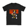 NFL - Cleveland Browns Mickey Mouse Is Wearing A Peace Necklace Disney NFL Football Shirt-T-shirt-Gildan Womens T-Shirt-Black-S-PopsSpot