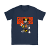 NFL - Cleveland Browns Mickey Mouse Is Wearing A Peace Necklace Disney NFL Football Shirt-T-shirt-Gildan Womens T-Shirt-Navy-S-PopsSpot