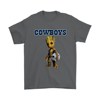 NFL - Dallas Cowboys Guardians Of The Galaxy Groot NFL Football Shirts-T-shirt-Gildan Mens T-Shirt-Charcoal-S-Itees Global