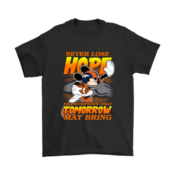 NFL – Denver Broncos Never Lose Hope x Mickey Mouse Shirts-T-shirt-Gildan Mens T-Shirt-Black-S-PopsSpot