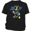 NFL - Detroit Lions Mickey Mouse Is Wearing A Peace Necklace Disney NFL Football Shirt-T-shirt-District Youth Shirt-Black-XS-PopsSpot