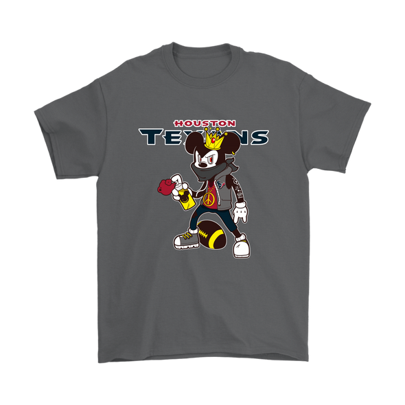 NFL - Houston Texans Mickey Mouse Is Wearing A Peace Necklace Disney NFL Football Shirt-T-shirt-Gildan Mens T-Shirt-Charcoal-S-Itees Global