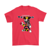NFL - Houston Texans Mickey Mouse Is Wearing A Peace Necklace Disney NFL Football Shirt-T-shirt-Gildan Mens T-Shirt-Red-S-Itees Global