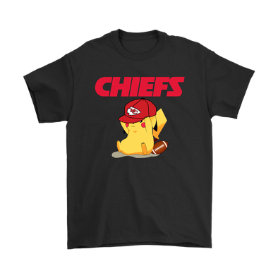 NFL – Kansas City Chiefs American Football Pikachu Shirts-T-shirt-Gildan Mens T-Shirt-Black-S-PopsSpot