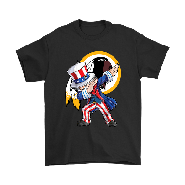 NFL - Washington Redskins Uncle Sam Dabbing Independence Day NFL Football Shirts-T-shirt-Gildan Mens T-Shirt-Black-S-PopsSpot
