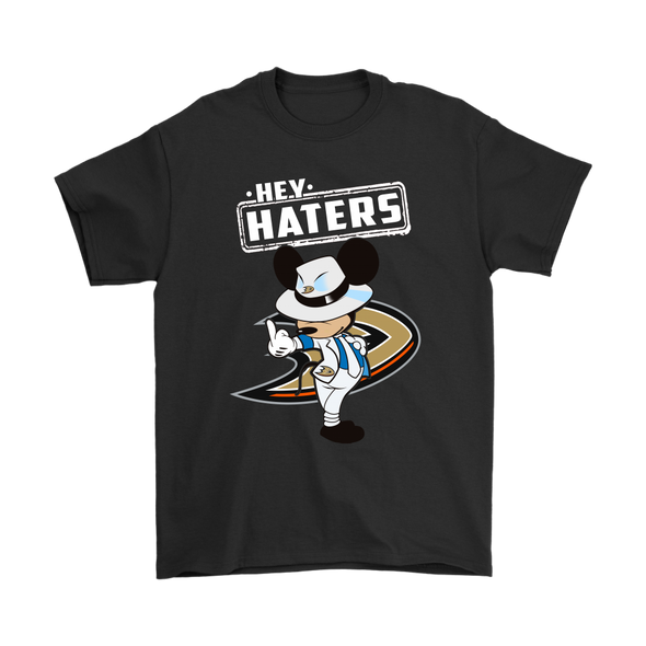 NHL - Anaheim Ducks Hey Haters Mickey Mouse Shirts-T-shirt-Gildan Mens T-Shirt-Black-S-Itees Global