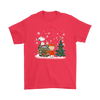 NFL – Denver Broncos Snoopy The Peanuts Movie Christmas Football Super Bowl Shirt-T-shirt-Gildan Mens T-Shirt-Red-S-PopsSpot