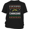 NFL - All I Want For Christmas Is San Diego Chargers Football Shirts-T-shirt-District Youth Shirt-Black-XS-Itees Global