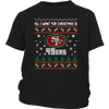 NFL - All I Want For Christmas Is San Francisco 49ers Football Shirts-T-shirt-District Youth Shirt-Black-XS-PopsSpot