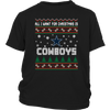 NFL - All I Want For Christmas Is Dallas Cowboys Football Shirts-T-shirt-District Youth Shirt-Black-XS-PopsSpot