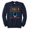 NFL - Carolina Panthers Christmas Grateful Dead Jingle Bears Football Ugly Sweatshirt-T-shirt-Youth Crewneck Sweatshirt-Navy-XS-PopsSpot