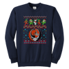 NFL - Cleveland Browns Christmas Grateful Dead Jingle Bears Football Ugly Sweatshirt-T-shirt-Youth Crewneck Sweatshirt-Navy-XS-Itees Global
