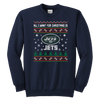 NFL - All I Want For Christmas Is New York Jets Football Shirts-T-shirt-Youth Crewneck Sweatshirt-Navy-XS-Itees Global