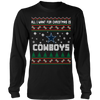 NFL - All I Want For Christmas Is Dallas Cowboys Football Shirts-T-shirt-Long Sleeve Shirt-Black-S-PopsSpot
