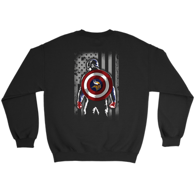 NFL - Minnesota Vikings Captain America Marvel Football American Flag Sweatshirt-T-shirt-Crewneck Sweatshirt-Black-S-PopsSpot