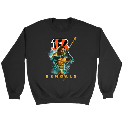 NFL – Cincinnati Bengals Aquaman Football Shirts-T-shirt-Crewneck Sweatshirt-Black-S-Itees Global