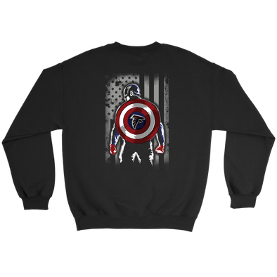NFL - Atlanta Falcons Captain America Marvel Football American Flag Sweatshirt-T-shirt-Crewneck Sweatshirt-Black-S-Itees Global