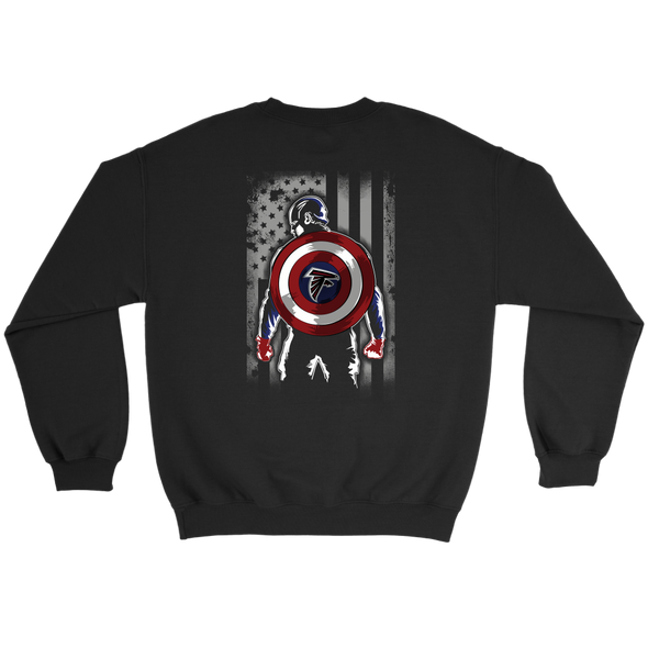 NFL - Atlanta Falcons Captain America Marvel Football American Flag Sweatshirt-T-shirt-Crewneck Sweatshirt-Black-S-PopsSpot