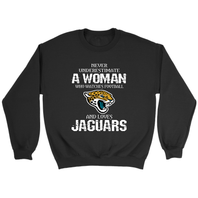 NFL - Never Underestimate A Woman Who Watches Football And Loves Jacksonville Jaguars Sweatshirt-T-shirt-Crewneck Sweatshirt-Black-S-PopsSpot