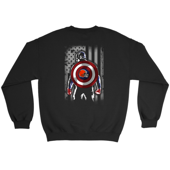 NFL - Cleveland Browns Captain America Marvel Football American Flag Sweatshirt-T-shirt-Crewneck Sweatshirt-Black-S-PopsSpot