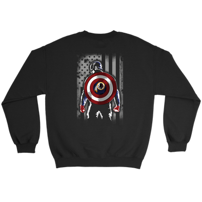 NFL - Washington Redskins Captain America Marvel Football American Flag Sweatshirt-T-shirt-Crewneck Sweatshirt-Black-S-PopsSpot