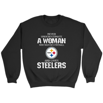 NFL - Never Underestimate A Woman Who Watches Football And Loves Pittsburgh Steelers Sweatshirt-T-shirt-Crewneck Sweatshirt-Black-S-PopsSpot