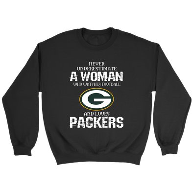 NFL - Never Underestimate A Woman Who Watches Football And Loves Green Bay Packers Sweatshirt-T-shirt-Crewneck Sweatshirt-Black-S-PopsSpot