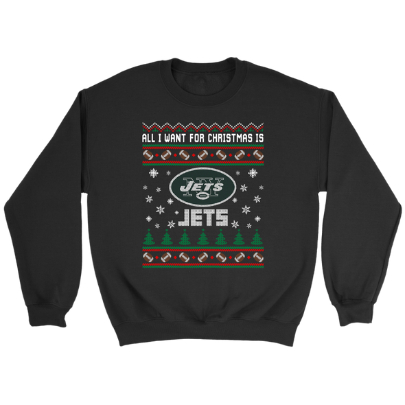 NFL - All I Want For Christmas Is New York Jets Football Shirts-T-shirt-Crewneck Sweatshirt-Black-S-Itees Global