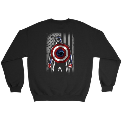 NFL - Carolina Panthers Captain America Marvel Football American Flag Sweatshirt-T-shirt-Crewneck Sweatshirt-Black-S-PopsSpot