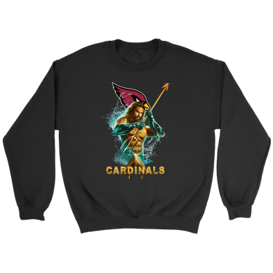 NFL – Arizona Cardinals Aquaman Football Shirts-T-shirt-Crewneck Sweatshirt-Black-S-PopsSpot
