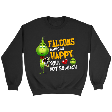 NFL – Atlanta Falcons Makes Me Happy You Not So Much The Grinch Football Sweatshirt-T-shirt-Crewneck Sweatshirt-Black-S-PopsSpot