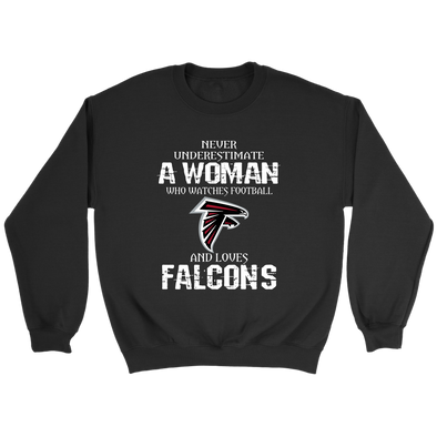 NFL - Never Underestimate A Woman Who Watches Football And Loves Atlanta Falcons Sweatshirt-T-shirt-Crewneck Sweatshirt-Black-S-PopsSpot