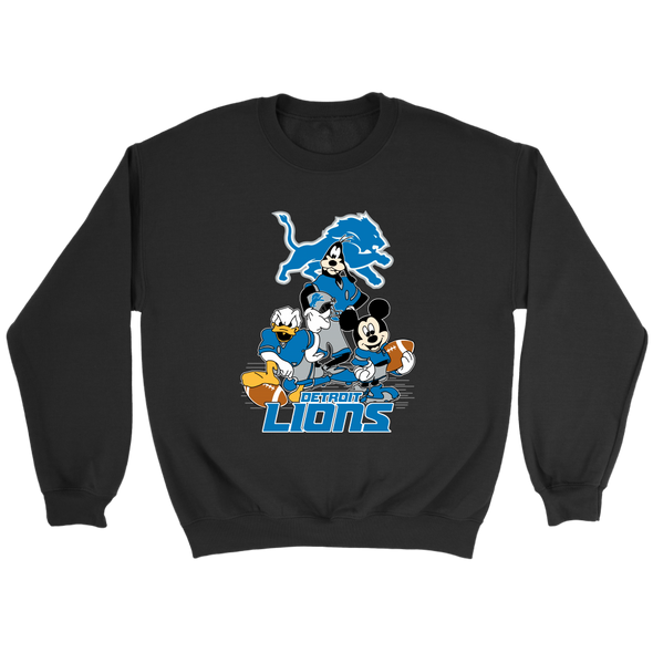 NFL - Detroit Lions Mickey Mouse Donald Duck Goofy Football Shirt-T-shirt-Crewneck Sweatshirt-Black-S-PopsSpot