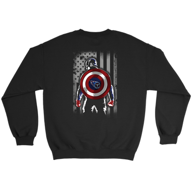 NFL - Tennessee Titans Captain America Marvel Football American Flag Sweatshirt-T-shirt-Crewneck Sweatshirt-Black-S-PopsSpot