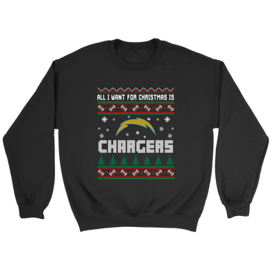 NFL - All I Want For Christmas Is San Diego Chargers Football Shirts-T-shirt-Crewneck Sweatshirt-Black-S-Itees Global