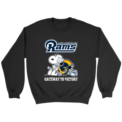 NFL – Los Angeles Rams Gateway To Victory Super Bowl 2019 Snoopy Football Shirts-T-shirt-Crewneck Sweatshirt-Black-S-Itees Global