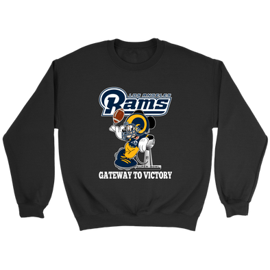 NFL – Los Angeles Rams Gateway To Victory Super Bowl 2019 Mickey Mouse Football Shirts-T-shirt-Crewneck Sweatshirt-Black-S-Itees Global