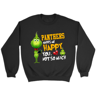NFL – Carolina Panthers Makes Me Happy You Not So Much The Grinch Football Sweatshirt-T-shirt-Crewneck Sweatshirt-Black-S-PopsSpot