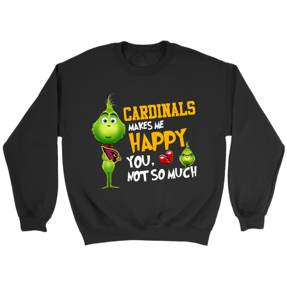 NFL – Arizona Cardinals Makes Me Happy You Not So Much The Grinch Football Sweatshirt-T-shirt-Crewneck Sweatshirt-Black-S-PopsSpot