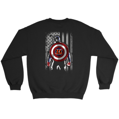 NFL - Cincinnati Bengals Captain America Marvel Football American Flag Sweatshirt-T-shirt-Crewneck Sweatshirt-Black-S-PopsSpot