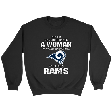 NFL - Never Underestimate A Woman Who Watches Football And Loves Los Angeles Rams Sweatshirt-T-shirt-Crewneck Sweatshirt-Black-S-PopsSpot