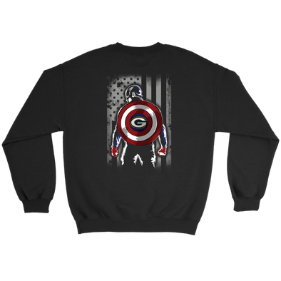NFL - Green Bay Packers Captain America Marvel Football American Flag Sweatshirt-T-shirt-Crewneck Sweatshirt-Black-S-PopsSpot