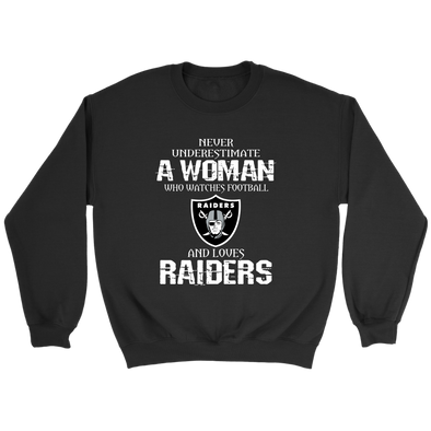 NFL - Never Underestimate A Woman Who Watches Football And Loves Oakland Raiders Sweatshirt-T-shirt-Crewneck Sweatshirt-Black-S-PopsSpot