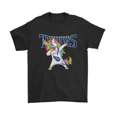 Tennessee Titans Unicorn Dabbing Football Sports Shirts-T-shirt-Gildan Mens T-Shirt-Black-S-Itees Global